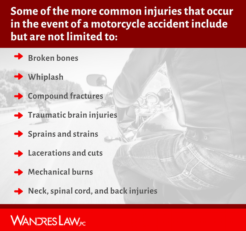 Common injuries in Motorcycle accidents in Tulsa